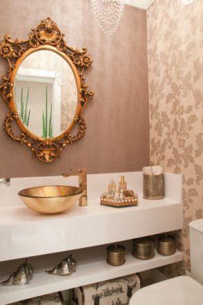 banheiro rosa velho e dourado revistasuacasa.arq.br