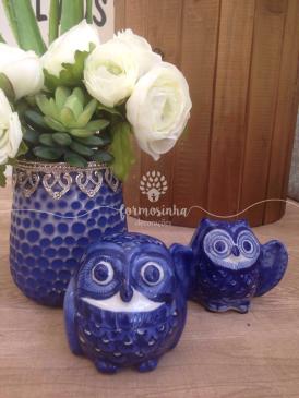 Corujas e Vasos Azul Marinho vintage